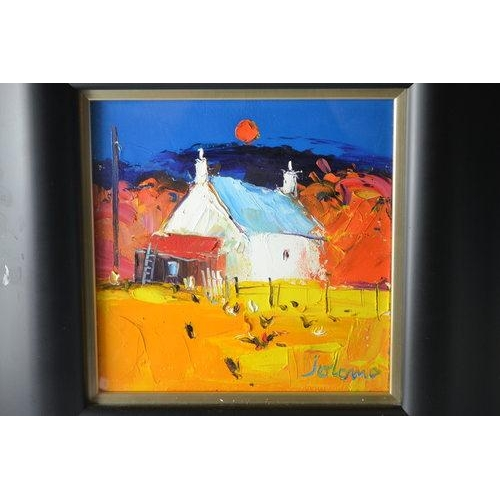 30 - JOLOMO 'Harvest Moon and Hens' BALEVULLIN, MULL approx 22.5 by 22.5cm oil on canvas...
