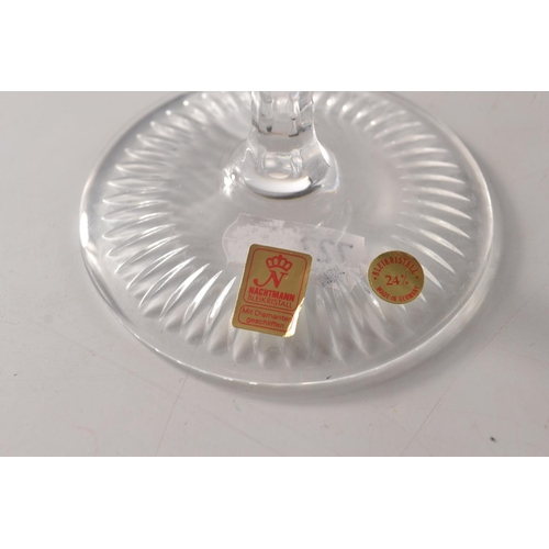 3 - Four Nachtman 24% lead crystal 'Grape' wine hock glasses in various colours to include blue, amber, ...