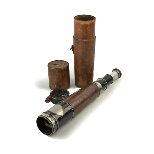 57 - 19th century black painted library telescope by Callaghan of New Bond Street, London. in fitted leat...