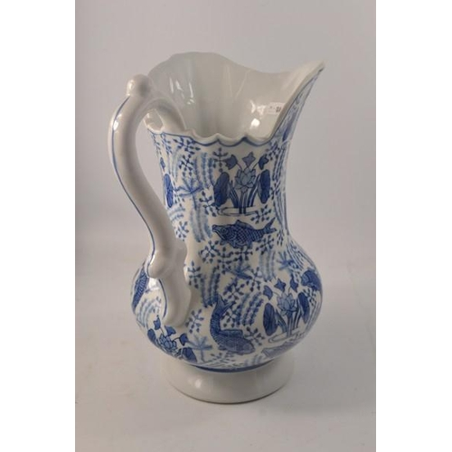 22 - Blue and White ewer with koi/fish design - 30cm H approx...