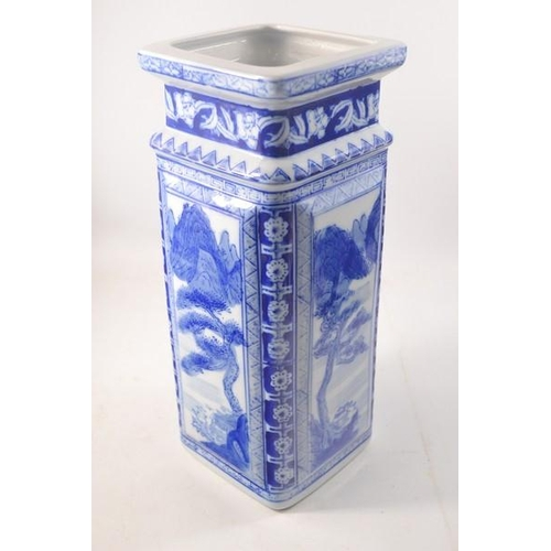 23 - Blue and White square vase with willow design - 34cm H x 14cm W approx...