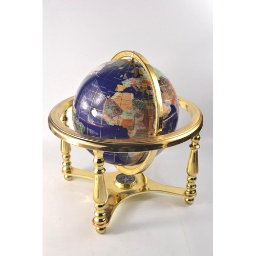 25 - Large globe with semi-precious stone approx 36cm wide...