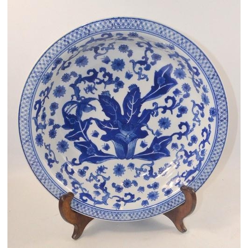 28 - Large blue and white bowl with stand. Approx 35cm wide...