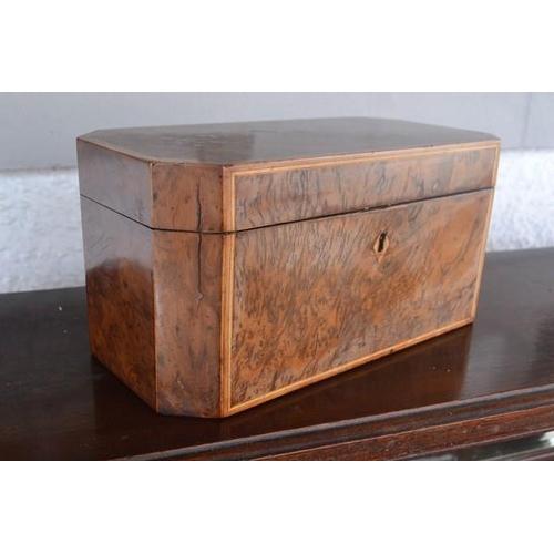 32 - A walnut Victorian tea caddy...