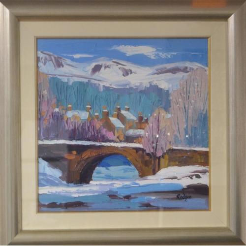 42 - LYN RODGIE ORIGINAL 'Dochart Falls' KILLIN oil on canvas 39cm x 39cm in a modern wooden silvered fra...