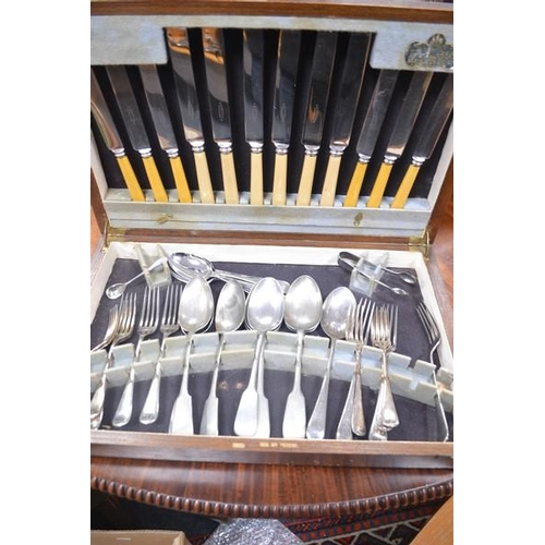 8 - ELKINGTON AND CO LTD Canteen of Cutlery in an Oak Case...
