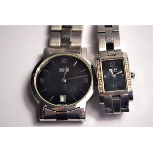 37 - Gent polished stainless-steel watch with two-tier black dial and link bracelet, with Hugo Boss Analo...