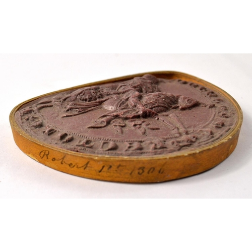 39 - A very old semi-circular red wax seal effigy of ROBERT 1st 1506 on horseback, with Latin style inscr...