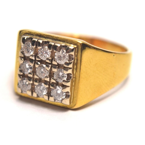 25 - ABSOLUTE BLING!! Modern rectangular Diamond set 18 carat sheffield 2013 Hallmarked yellow gold, 9 st...