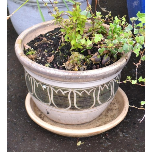 16 - Ceramic planter with green band...