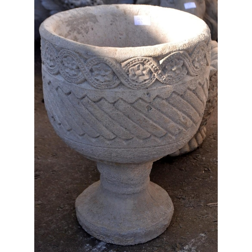 20 - Mayan style urn planter on stand...