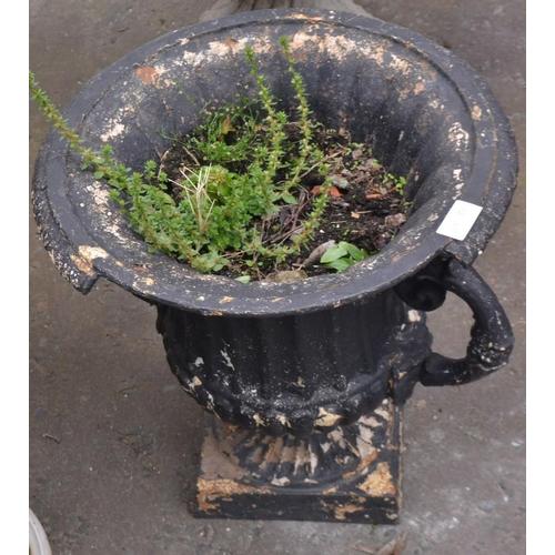 21 - Old cast iron planter 31cm D and H 41cm...