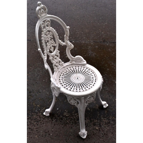 3 - Wrought iron style metal white painted garden seat...