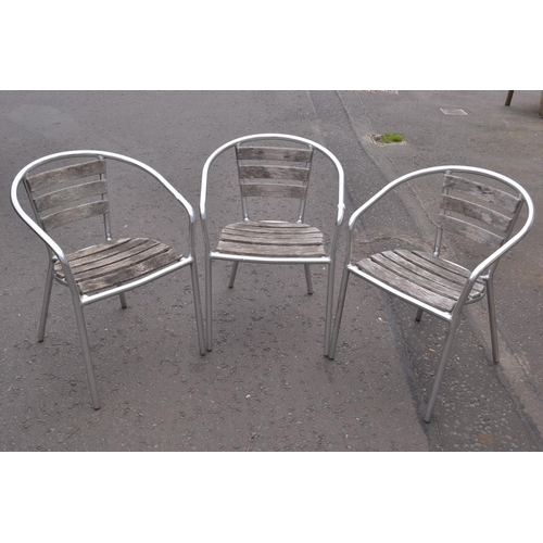 4 - Set of three wooden slatted metal armed outdoor chairs...