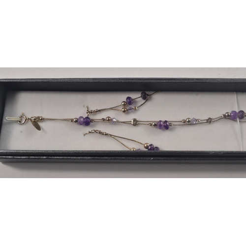 15 - 925 Stamped Silver bracelet and matching earrings set with purple stones#39