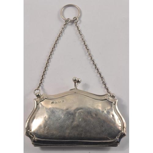 19A - Antique Birmingham Silver Hallmarked 1917 ladies Evening Purse stamped silversmith WJM &Co<br>#48...
