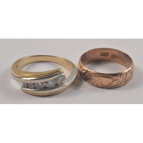 1J - A 375 stamped yellow gold wedding band with lovehearts and flower petals engraved on the outside of ...