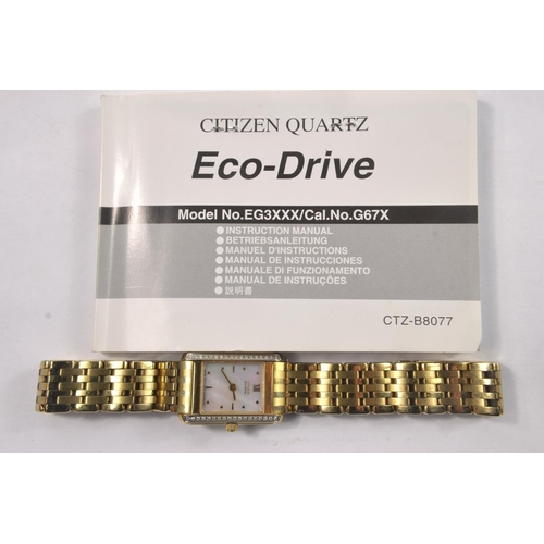 1S - Ladies Citizen Stiletto Eco-Drive wristwatch with a yellow gold PVD case and bracelet, mother-of-pea...