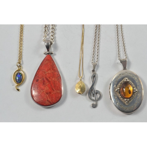 4 - Silver Hallmarked Locket set with amber stone/ 925 stamped silver cleft and Silver Chain with stone ...