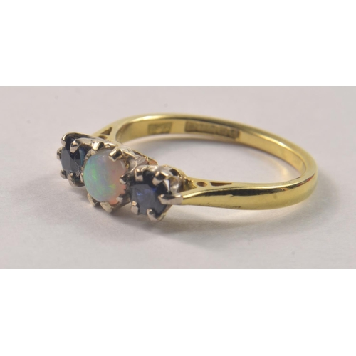 1 - 750 Hallmarked Yellow Gold Sapphire and Opal ring, [size L ]#2