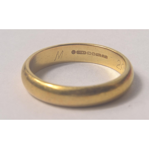 1C - A 750 stamped and Hallmarked  Yellow gold wedding band size N weight 4.16g approx#5