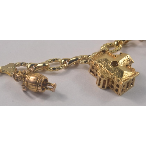 3 - Now tested chain 14k, Eight Yellow gold charms, lantern with zodiak signs stamped 14k, coin as below...