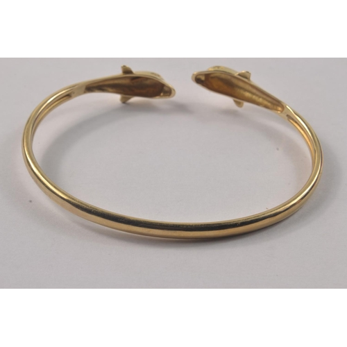 3A - 585 Stamped Yellow Gold double headed Dolphin bracelet#16