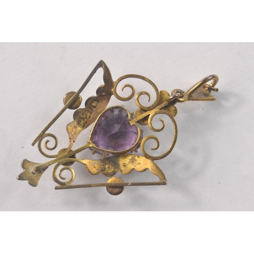 3C - Victorian 15ct Stamped Yellow Gold Pendant set with seed pearls and a heart shaped amethyst. [ L4cm ...