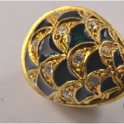 4D - Lovely Yellow metal FABERGE style green enamel and white stone set egg charm/ pendant [L 2cm ]<br>#3...