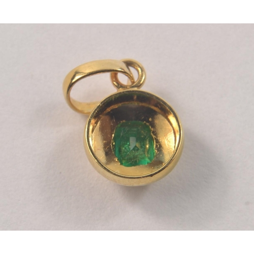 4E - 18k Stamped Yellow Gold pendant set with a square cut Columbian Emerald. [#33