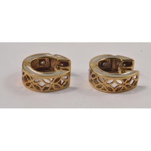 4G - Pair of 375 stamped earrings round brilliant cut diamond hoop flower pierced design hinged earrings,...