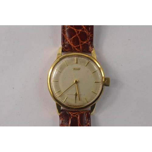 7G - TISSOT 750 case stamped yellow gold vintage 1950's gents wristwatch, the movement is fully signed an...