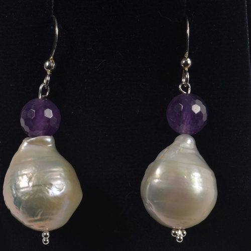 8G - A RARE large BAROQUE cultured Fresh Water Pearls and Amethyst on silver pair of earrings<br>#57...