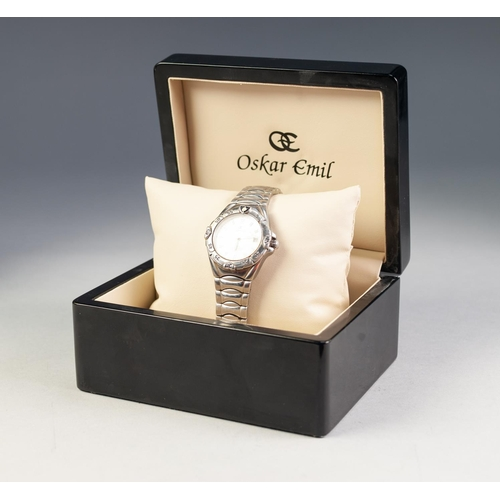 14 - GENTS OSKAR EMIL 'ASPEN' FULLY AUTOMATIC WRIST WATCH, waterproof to 100 meters, mother o'pearl dial ...