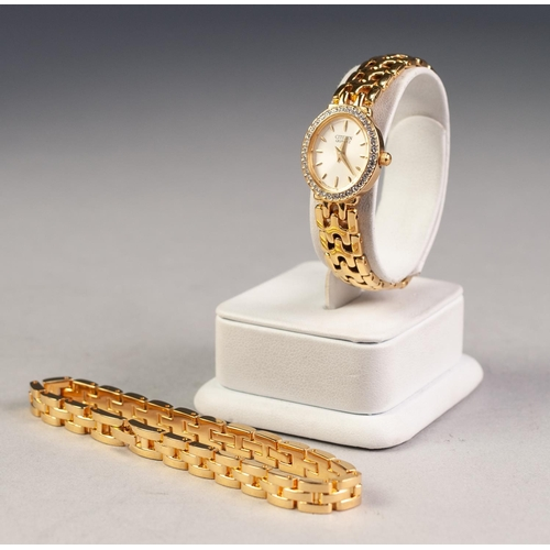 24 - LADY'S CITIZEN QUARTZ GOLD PLATED BRACELET WATCH the small oval dial with batons, paste set besel wi...