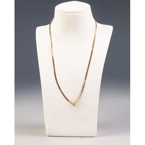 53 - 9ct GOLD FLAT STRAND NECKLACE with 'V' shaped front, 2.5gms...
