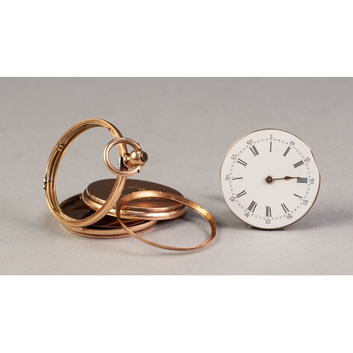 25 - LATE 19th CENTURY SWISS 14K GOLD FOB WATCH with key wind movement, white Roman dial, engine turned h...