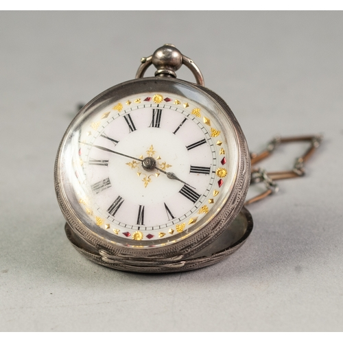38 - LADY'S CONTINENTAL ENGRAVED SILVER POCKET WATCH with key wind movement, Roman porcelain dial, the WA...