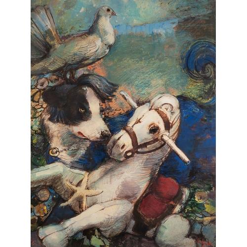 13 - BOHUSLAV BARLOW (b.1947)  WATERCOLOUR AND INK  'Celestial Games', rocking horse, dog and a pigeon Si...