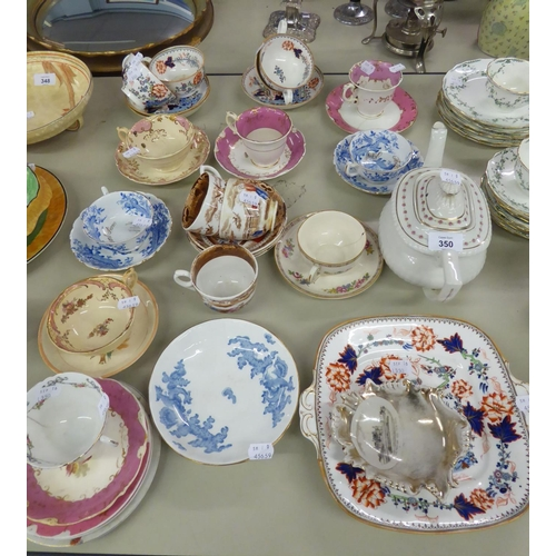 26 - TWELVE VICTORIAN CHINA SPECIMEN TEA CUPS AND SAUCERS, THREE WITH MATCHING SIDE PLATES; ONE MATCHING,...