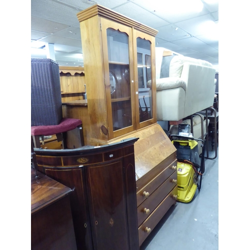 33 - A PINE BUREAU BOOKCASE, THE UPPER SECTION HAVING TWO GLAZED DOORS, THE BASE HAIVNG FALL-FRONT OVER T...