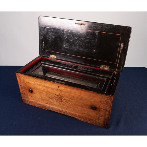 20 - LATE NINETEENTH CENTURY SWISS INLAID ROSEWOOD CYLINDER MUSICAL BOX, of typical form, the ebonised in...