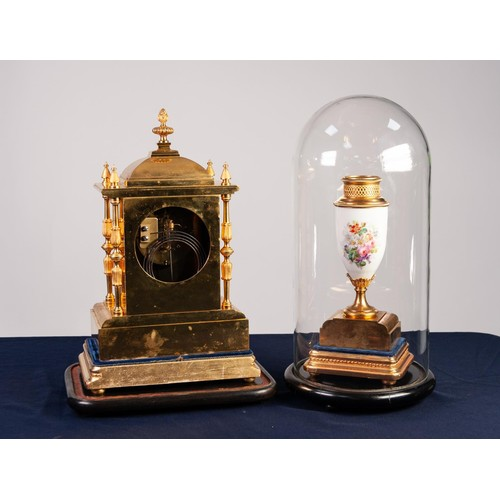 "8 - LATE NINETEENTH CENTURY FRENCH GILT AND MATT BRASS THREE PIECE CLOCK GARNITURE, the clock with 3 ¼"" ..."