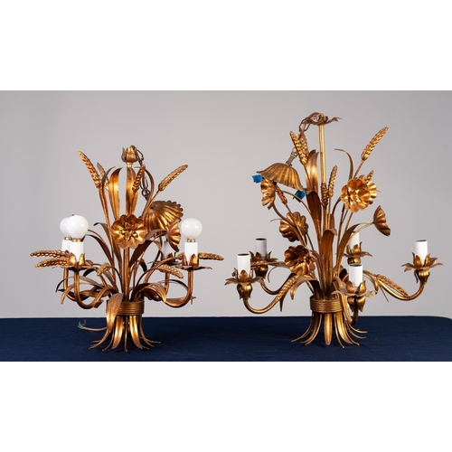 "39 - GRADUATED PAIR OF MODERN GILT METAL CEILING LIGHTS, each modelled with flowers and leaves, 27 ¾"" (70..."