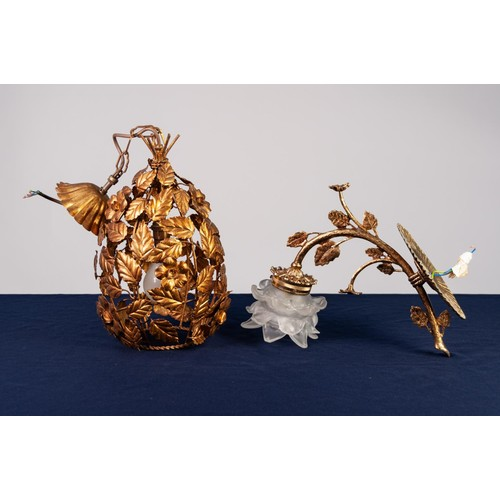 "41 - PIERCED GILT METAL CEILING LIGHT, modelled as flower heads amongst leafy branches, 20 ½"" (52cm) drop..."