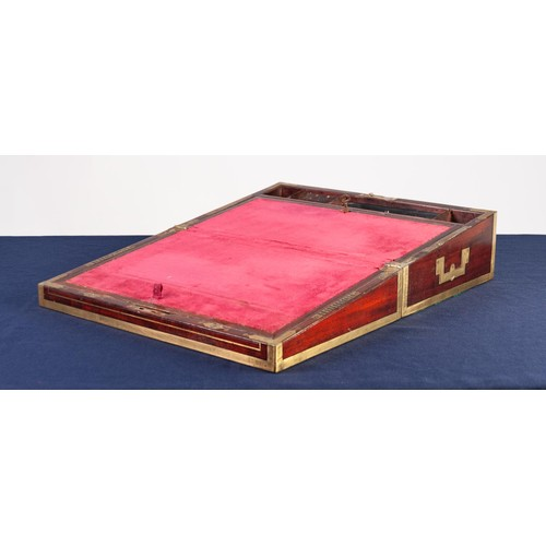 14 - FINE QUALITY EARLY VICTORIAN AND BRASS MOUNTED PORTABLE WRITING SLOPE with inlet brass edges and cor...