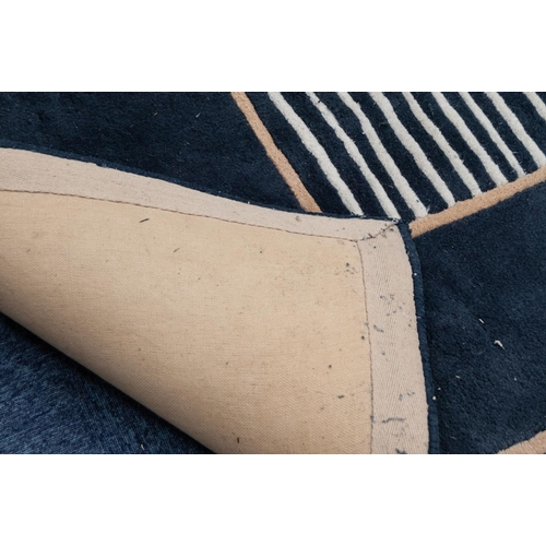 6 - MAHARAJA HAND MADE INDIAN 100% WOOL PILE CARPET abstract design , plain black, centre oblong panel e...