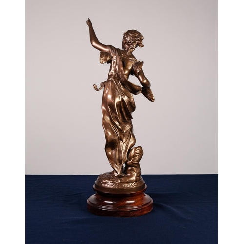 27 - FRENCH LATE 19th CENTURY SPELTER ALLEGORICAL FEMALE FIGURE standing and pointing skywards entitled t...