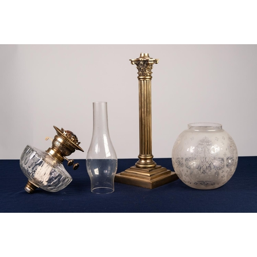36 - LATE VICTORIAN BRASS OIL LAMP with Corinthian column to stepped square base supporting the cut glass...