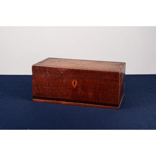 18 - GEORGE III MAHOGANY WORK BOX, the hinged lid having lozenge shaped marquetry shell inlay, ebony stri...